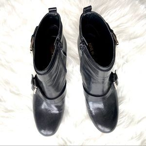 Nine West Shoes - Nine West Buckled Black Leather Ankle Booties